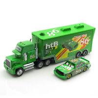 2x Disney Pixar Cars NO.86 Mack Truck & Chick Hicks Lightning McQueen Racing Toy