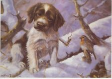 Springer Spaniel Dog Puppy Robin Painting Christmas Xmas Card