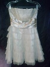 SPRING Masquerade Pink Champagne Beige Satin Ruffle Layer Metal Lace Dress 9/10