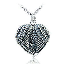 925 Sterling Silver Angel Wings Heart Locket Pendant Necklace Openable Celtic