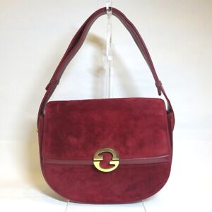 GUCCI Old Suede Red Gold Hardware Bag Handbag Free Shipping [Used]