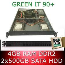 1HE/1U Rejilla Servidor AMD Opteron 64bit Quad Core 2 50 GHz 4GB RAM 2x 500 GB
