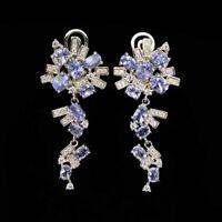 Unheated Oval Blue Tanzanite 5x3mm Cz 925 Sterling Silver Earrings