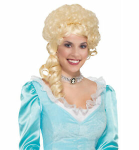 Colonial Lady Belle Victorian 18th Century Olden Day Blonde Women Costume Wig