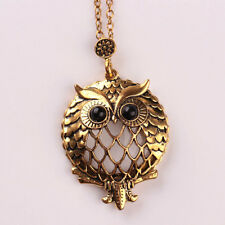Owl Necklace Magnifying Glass Charm ANTIQUE GOLD Luck Strength Vintage Pendant