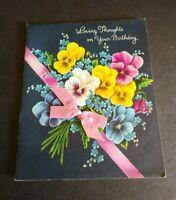 Vintage Norcross Greeting Card Happy Birthday Violets 35GB812