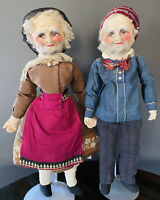 Antique French boudoir dolls Handpainted Mask Head Cloth 1920's - Beautiful!