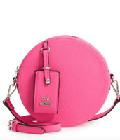 Steve Madden Womens Fushia Pebbled Faux Leather Canteen Bag 9201