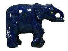 "5.8"" ROYAL BLUE LAPIS LAZULI CARVED ELEPHANT STATUE AFGHANISTAN"