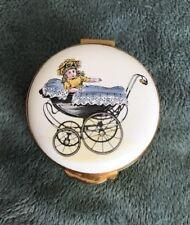 Vintage RARE CRUMMLES Victorian PRAM w BABY GIRL - Enamel, TRINKET BOX- EUC