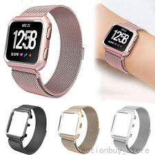 US Milanese Stainless Steel Watch Band Wrist Strap Cover Case For Fitbit Versa