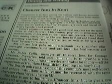 ephemera 1978 kent restaurant review chaucer inn robin ellis