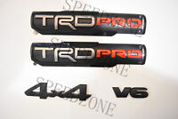 4PC 2016-2018 Toyota Tacoma TRD PRO Black Door Emblem Decal Badge Nameplate V6