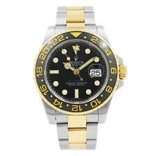 Rolex GMT-Master Ii Acero Oro bisel de cerámica Cuadrante negro Reloj Para Hombre 116713