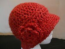"""ADULT """"PINKISH RED"""" HANDMADE HAND CROCHET HAT CAP CLOCHE CHEMO FLOWER BEANIE"""
