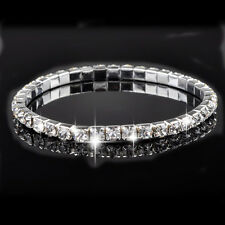20Pcs Wholesale Lots Children Crystal Rhinestone 1-Row Elastic Silver Bracelet