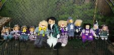 Lot of 12 Clowns Dolls with Brown Yellow ceramic Faces Head pre-owned