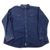 Eddie Bauer Men's LT Shirt Heavy Chamois Flannel Blue Button Up Cotton