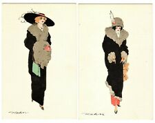 POSTCARDS (2) GERMAN FASHIONABLE WOMEN IN COATS ARTIST-SIGNED (NP)