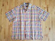 Alan Flusser Button Front Down Plaid Mens Shirt Sz Medium Colorful