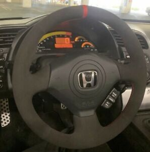 BLACK v2 Honda S2000 Civic Si Acura RSX Type-S Steering Wheel Wrap Suede