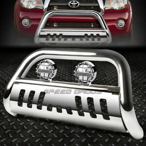 "CHROME 3"" BULL BAR GRILLE GUARD+CHROME FOG LIGHT FOR 05-15 TOYOTA TACOMA 2WD/4WD"