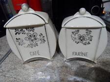 Vintage pot epices faience art deco fleurs 50's deco cuisine CAFE FARINE