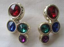 Vintage gold tone 80's coloured purple rhinestones pin earrings