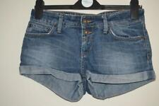 DISTRESSED BLUE TOPSHOP HIGH WAISTED BUTTON FRONT HOTPANTS SHORTS UK 8 W26