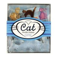 Fox Run 5pc Cat Shaped Mini Cookie Cutter - Pastry Dough Mold Tin Plated Set