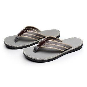 Anti-slip Leather Men's Thong Flip-Flops Summer Beach Sandals Shoes Size(10-12)