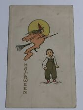 Halloween Postcard~Witch on a Broom with Boy ~ Gibson Art Co 1911~Pc13