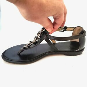 MICHAEL KORS Gladiator Thong Sandals Size 7.5 M Leather Black Silver Chain Flat