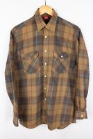 Engelbert Strauss Men Casual Shirt Brown Check Cotton size S