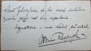 OTTORINO RESPIGHI 1910 Autograph/ALS/Signed-Letter - Composer/Violinist - Music