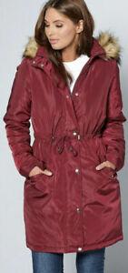 New Womens  Studio Parka Coat Burgundy Sz 16 (L4)