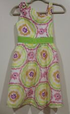 EUC Rare Editions Girls Multi Color Yellow Floral Lined Sun Dress Size 14