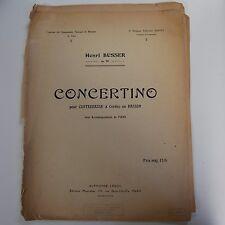 Henri Busser concertino, solo contrabajo o fagot, sólo puntuación de piano