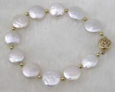 """Akoya Pearl Bracelet Bangle 7.5"""" 11-12mm Aaa Genuine Natural Coin Freshwater"""
