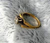 Estate 18 kt Gold & Diamond Brilliant Cut Signet Sheffield Engagement Ring
