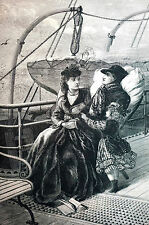Hyde COMING HOME to DIE Invalid at Sea 1871 Antique Print Engraving Matted