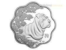 15 $Dólar Lunar Lotus año del perro dog Canadá 1 onza plata pp 2018