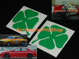 "2x 3"" 7.6cm Alfa Romeo Clover Leaf Decal Sticker Sportwagon GTV-6 75TS twinspark"
