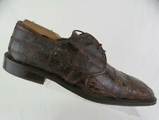 DAVID EDEN Genuine Crocodile & Ostrich Leg Brown 9 M Men Handmade Square-Toe