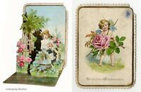 C. 1880 German die cut Pop-up greeting card. Angel w. Flowers, Rare & beautiful.