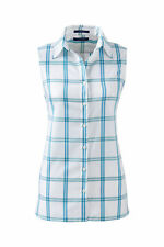 Lands End Women's Plus Sleeveless No Iron Shirt Brilliant Teal Plaid New