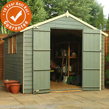 8x8 Wooden Overlap Garden Storage Shed Windows Double Door Apex Roof 8ft 8ft