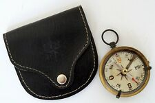 Antique Brass Directional Pocket Compass Handmade Black Leather Case Great Gift