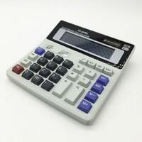 Dual Power Solar Battery 12 Digits Calculator Desk Large Buttons Desktop D3F8