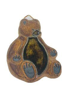 VTG Teddy Bear Stoneware Pottery Enameled Wall Hanging Decor